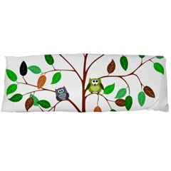Tree Root Leaves Owls Green Brown Body Pillow Case Dakimakura (two Sides) by Simbadda