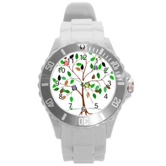 Tree Root Leaves Owls Green Brown Round Plastic Sport Watch (l) by Simbadda