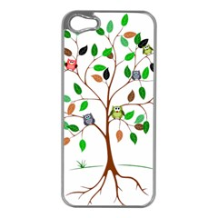 Tree Root Leaves Owls Green Brown Apple Iphone 5 Case (silver) by Simbadda