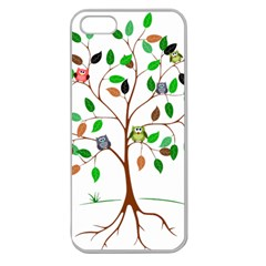 Tree Root Leaves Owls Green Brown Apple Seamless Iphone 5 Case (clear) by Simbadda