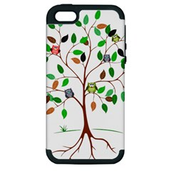 Tree Root Leaves Owls Green Brown Apple Iphone 5 Hardshell Case (pc+silicone) by Simbadda