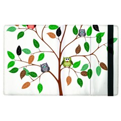 Tree Root Leaves Owls Green Brown Apple Ipad 2 Flip Case by Simbadda