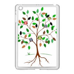 Tree Root Leaves Owls Green Brown Apple Ipad Mini Case (white) by Simbadda