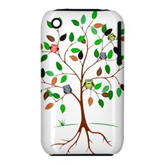 Tree Root Leaves Owls Green Brown Iphone 3s/3gs by Simbadda