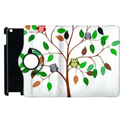 Tree Root Leaves Owls Green Brown Apple Ipad 2 Flip 360 Case by Simbadda