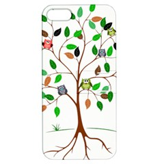 Tree Root Leaves Owls Green Brown Apple Iphone 5 Hardshell Case With Stand by Simbadda