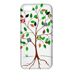 Tree Root Leaves Owls Green Brown Apple Iphone 5c Hardshell Case by Simbadda