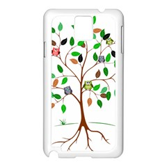 Tree Root Leaves Owls Green Brown Samsung Galaxy Note 3 N9005 Case (white) by Simbadda