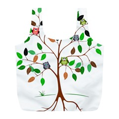 Tree Root Leaves Owls Green Brown Full Print Recycle Bags (l)  by Simbadda