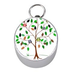 Tree Root Leaves Owls Green Brown Mini Silver Compasses by Simbadda