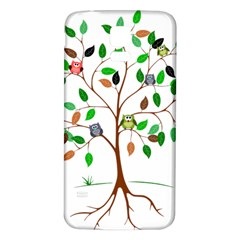 Tree Root Leaves Owls Green Brown Samsung Galaxy S5 Back Case (white) by Simbadda