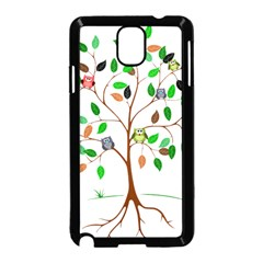 Tree Root Leaves Owls Green Brown Samsung Galaxy Note 3 Neo Hardshell Case (black) by Simbadda