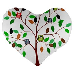 Tree Root Leaves Owls Green Brown Large 19  Premium Flano Heart Shape Cushions by Simbadda