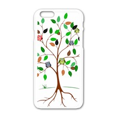 Tree Root Leaves Owls Green Brown Apple Iphone 6/6s White Enamel Case by Simbadda