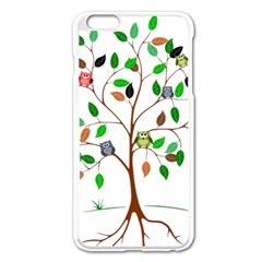 Tree Root Leaves Owls Green Brown Apple Iphone 6 Plus/6s Plus Enamel White Case by Simbadda