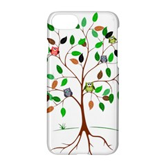 Tree Root Leaves Owls Green Brown Apple Iphone 7 Hardshell Case by Simbadda