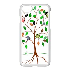 Tree Root Leaves Owls Green Brown Apple Iphone 7 Seamless Case (white) by Simbadda