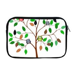 Tree Root Leaves Owls Green Brown Apple Macbook Pro 17  Zipper Case by Simbadda