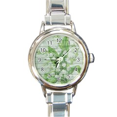 On Wood May Lily Of The Valley Round Italian Charm Watch by Simbadda