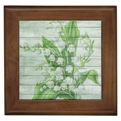 On Wood May Lily Of The Valley Framed Tiles by Simbadda