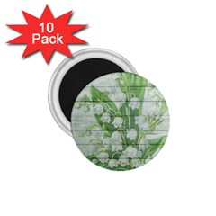 On Wood May Lily Of The Valley 1 75  Magnets (10 Pack)