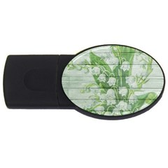 On Wood May Lily Of The Valley Usb Flash Drive Oval (2 Gb) by Simbadda