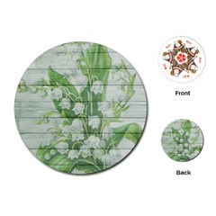 On Wood May Lily Of The Valley Playing Cards (round)  by Simbadda