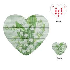 On Wood May Lily Of The Valley Playing Cards (heart)  by Simbadda