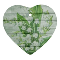 On Wood May Lily Of The Valley Heart Ornament (two Sides) by Simbadda