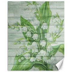 On Wood May Lily Of The Valley Canvas 11  X 14   by Simbadda