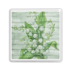 On Wood May Lily Of The Valley Memory Card Reader (square)  by Simbadda