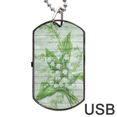 On Wood May Lily Of The Valley Dog Tag USB Flash (Two Sides) by Simbadda