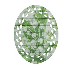 On Wood May Lily Of The Valley Oval Filigree Ornament (two Sides) by Simbadda