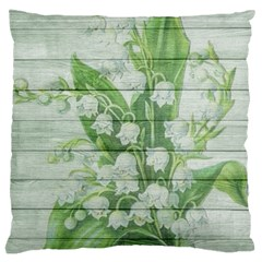 On Wood May Lily Of The Valley Large Cushion Case (two Sides) by Simbadda