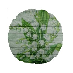 On Wood May Lily Of The Valley Standard 15  Premium Round Cushions by Simbadda