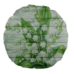 On Wood May Lily Of The Valley Large 18  Premium Round Cushions by Simbadda