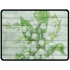 On Wood May Lily Of The Valley Double Sided Fleece Blanket (large)  by Simbadda