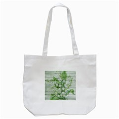 On Wood May Lily Of The Valley Tote Bag (white) by Simbadda