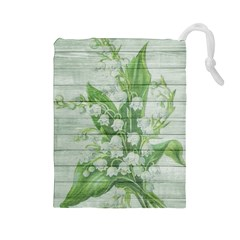 On Wood May Lily Of The Valley Drawstring Pouches (large)  by Simbadda