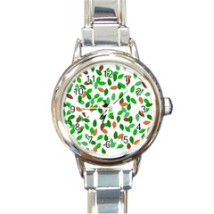 Leaves True Leaves Autumn Green Round Italian Charm Watch by Simbadda