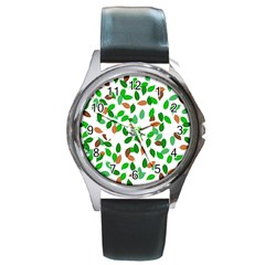Leaves True Leaves Autumn Green Round Metal Watch by Simbadda