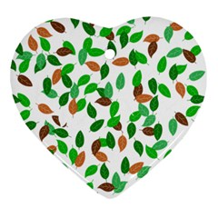 Leaves True Leaves Autumn Green Ornament (heart) by Simbadda