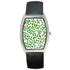 Leaves True Leaves Autumn Green Barrel Style Metal Watch by Simbadda