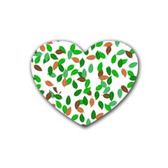 Leaves True Leaves Autumn Green Rubber Coaster (heart)  by Simbadda