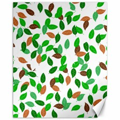 Leaves True Leaves Autumn Green Canvas 11  X 14   by Simbadda