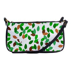 Leaves True Leaves Autumn Green Shoulder Clutch Bags by Simbadda