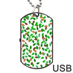 Leaves True Leaves Autumn Green Dog Tag Usb Flash (one Side) by Simbadda