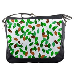 Leaves True Leaves Autumn Green Messenger Bags by Simbadda