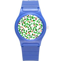 Leaves True Leaves Autumn Green Round Plastic Sport Watch (s) by Simbadda