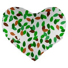 Leaves True Leaves Autumn Green Large 19  Premium Heart Shape Cushions by Simbadda
